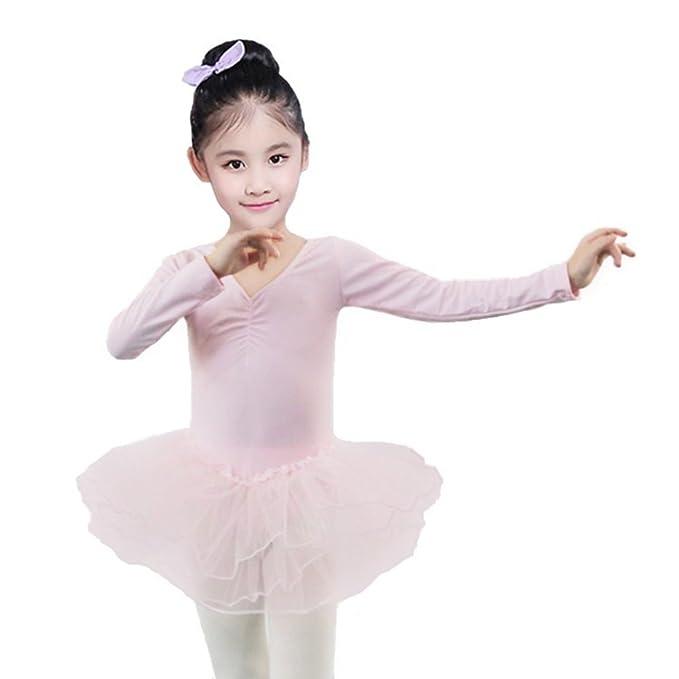 Kids Girls Long Sleeves Ballet Tutu Dancewear Leotard Clothes Gymnastics Costume