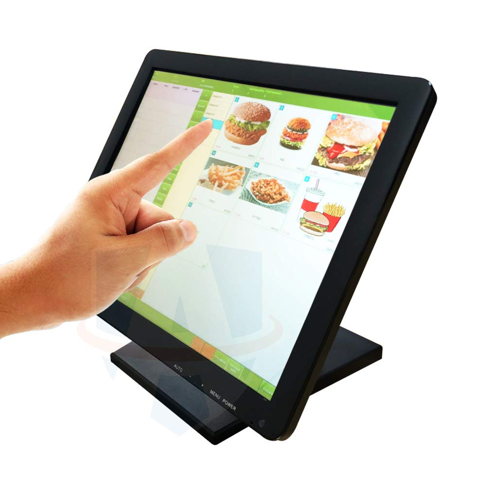 "ADD CANADA 15"" TFT LCD Capacitive Multi Touch Screen Monitor with Adjustable Stand for POS Restaurant Retail Office Bar Pub"