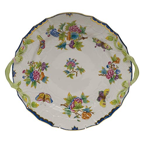 Herend Queen Victoria Blue Porcelain Chop Plate With Handles