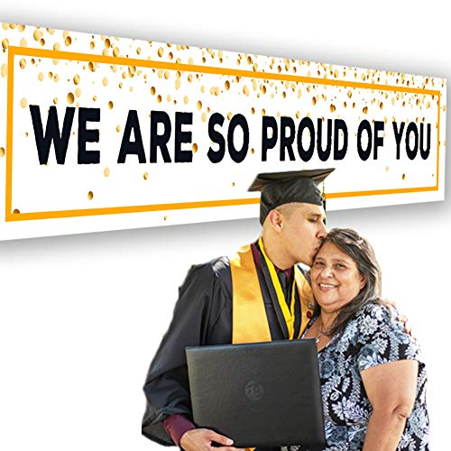 Beestech 9ft×1.5ft Graduation Banner Graduation Party Supplies & Decorations 2019, We are So Proud of You Banner, Congrats Graduation Party Supplies, Grad Background Photo Station
