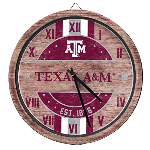 FOCO NCAA Texas A&M Aggies Team Logo Wood Barrel Wall ClockTeam Logo Wood Barrel Wall Clock, Team Color, One Size