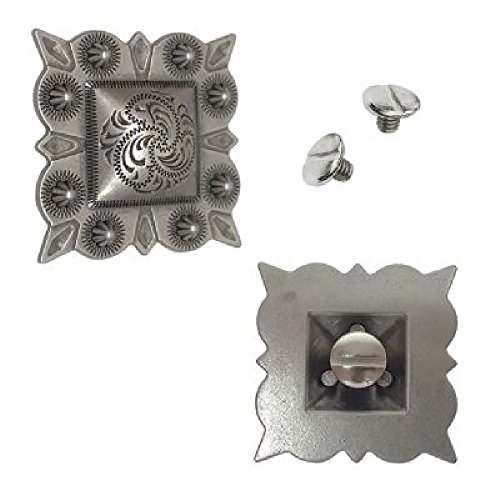 """1-1/2"""" Antiqued Silver Square Berry Concho w/ Screws 2 Pack"""