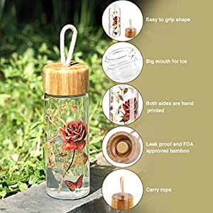Glass Water Bottle with Leak Proof Lid BPA Free Double Sided Decal 16oz. By CEDAR HOME, Red