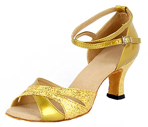 Honeystore Kvinna Glitter Chunky Klack Latin Dansskor Guld