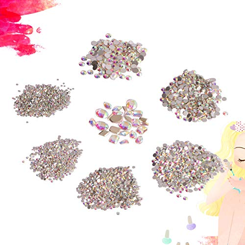 2100pcs Round & 25pcs Multi-Shapes AB Shine Crystal Rhinestones Jewel Gems Round Beads Flatback Glass Charms for DIY Craft Manicure Nails Decoration Art Beauty Face Body Makeup Clothes Phone Case Art