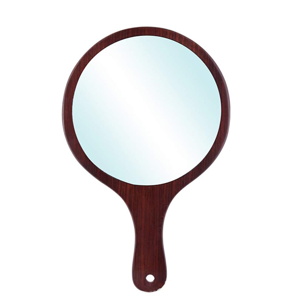 Handle mirror Wooden Handheld Mirror Professional Salon Barber Hairdresser with Large Grip, 3 Pieces,13.627.8cm