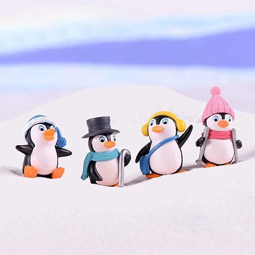 Juego de 4 mini figuras de pingüino para decoración de mesa de ...