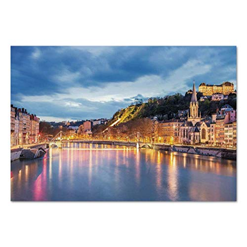 VAMIX Sticker [ European,View of Saone River in Lyon City at Evening France Blue Hour Historic Buildings,Multicolor ] Self-Adhesive Vinyl Wallpaper/Removable Modern Decorating Wall Art -