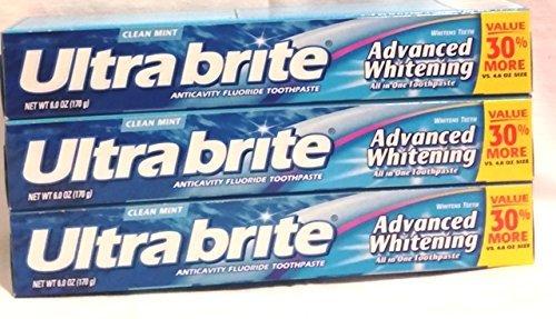 Colgate Ultra Brite Advanced Whitening Anticavity Fluoride Toothpaste, Clean Mint Flavor, 6 oz. (Pack of (Fluoride Anticavity Toothpaste Clean Mint)