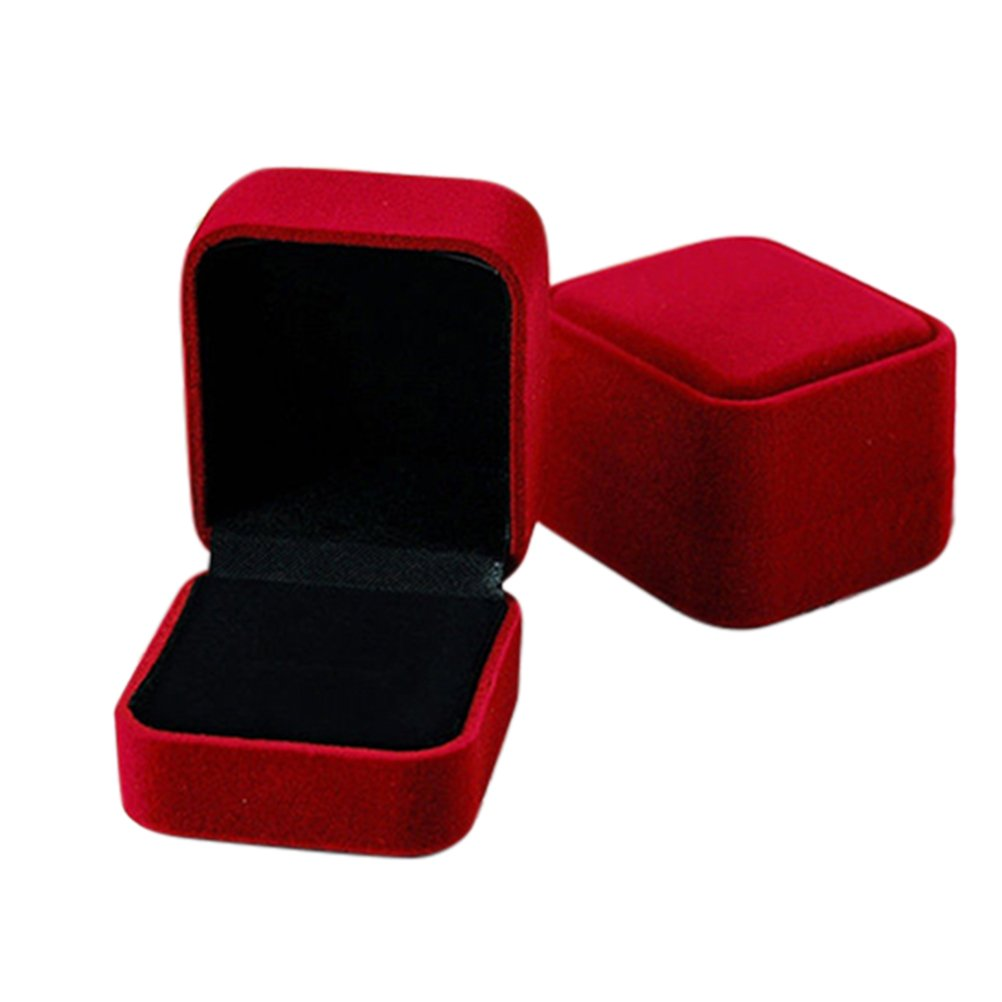 Profusion Circle Boîte à bijoux pour bague boucles d'oreilles pendentif Collier Affichage étui de rangement organiseur Boîte de cadeau d'anniversaire de fiançailles, Tissu, Red, Taille unique