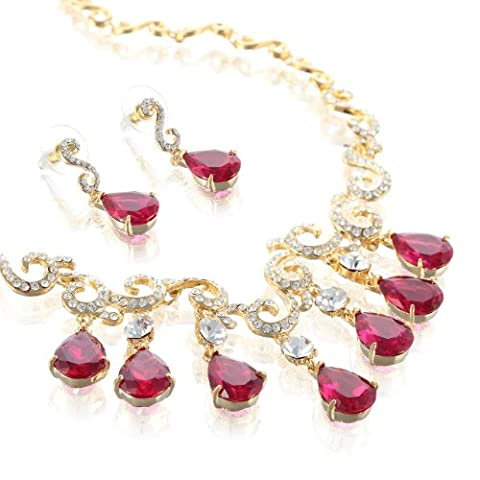 Stunning Wedding Bridal Swarovski and Cz Crystal Pear Drops Necklace & Earrings Set - Fuchsia/Gold , Janeo - Garnet Set Brooch