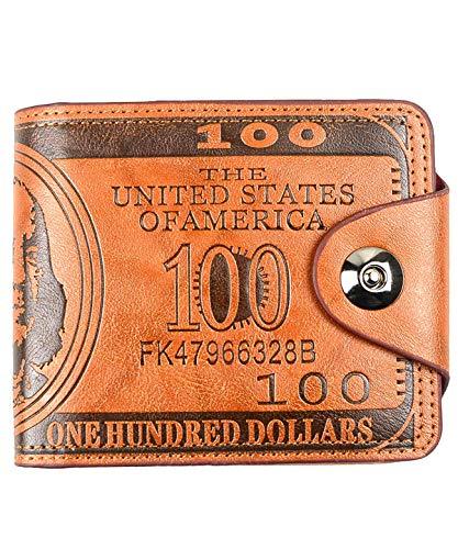 POPUCT New Men's US Dollar Bill Money Bifold Wallet(Brown-large)