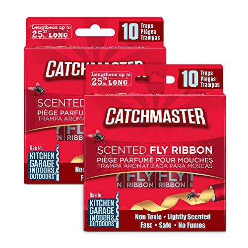 Catchmaster Sticky Fly Trap Ribbon - Indoor/Outdoor Fly Catcher - Pack of 20
