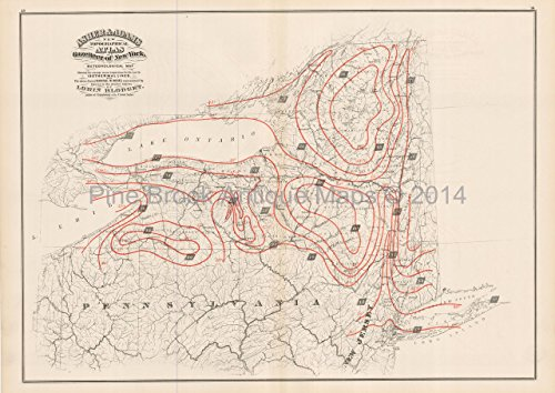 New York State Meteorological Antique Map Asher Adams 1870 Original NY Decor History Housewarming Gi