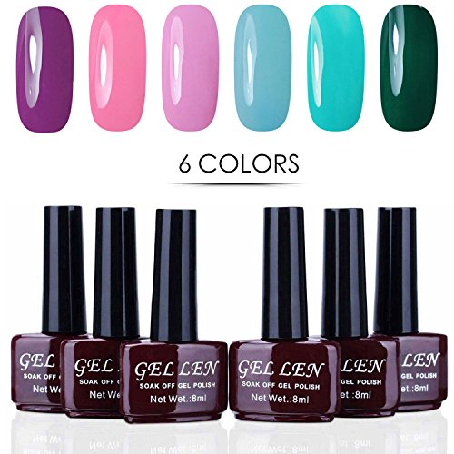 Gellen UV Gel Nail Polish Kit 6 Vibrant Colors 8ml Each Mani