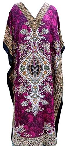RiSi Women's Kaftan, V-Neck Kimono Long Caftan Dress One Size / Free Size Raspberry