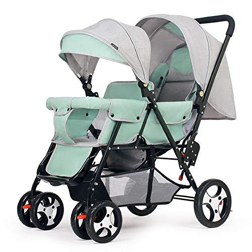 Tandem Stroller Foldable, Double Stroller for Infant and Twin Stroller Toddler Adjustable Backrest Footrest 5 Points Safety Belts,Green