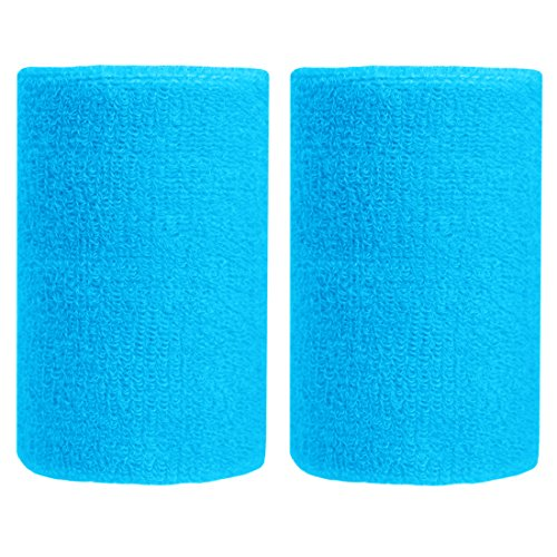 (BBOLIVE 4' Inch Wrist Sweatband in 27 Different Neon Colors - Athletic Cotton Terry Cloth - Great for All Outdoor Activity(1 Pair) (Sky Blue))