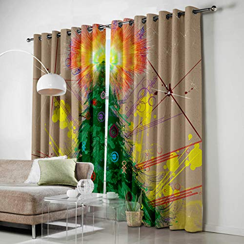 HomeCreator Window Blackout Curtains Hand-Print Christmas Tree Curtains Darkening Thermal Insulated Curtains for Living Room Bedroom Window Drapes Set of 2 Panels-52 -