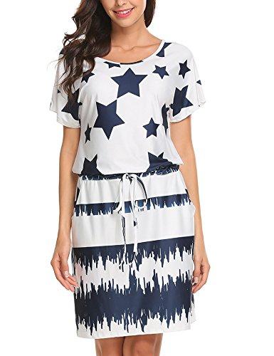 Zeagoo Women's Casual Round Neck Short Sleeve Drawstring Waist Pocket Patchwork Star Shirt Dress XX-Large -