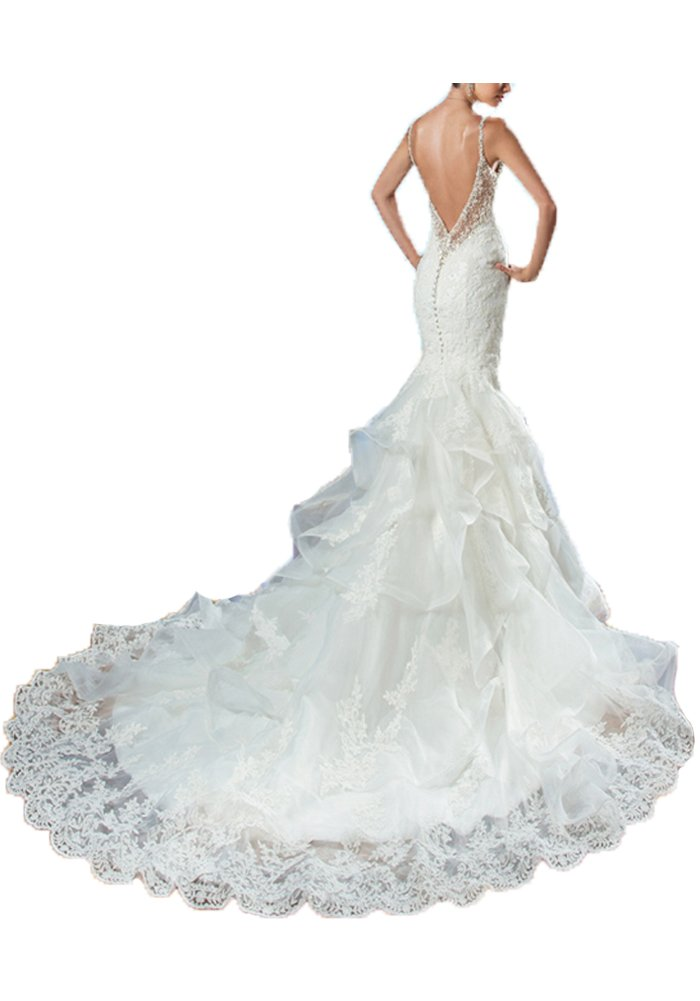 Now and Forever Mermaid Backless Wedding Dress Lace (4, White)
