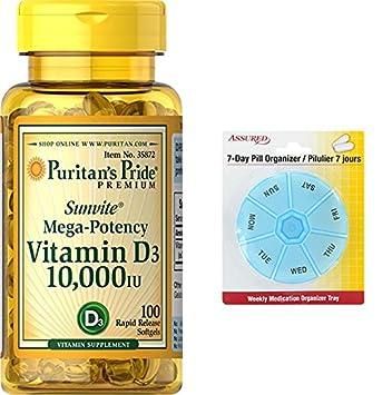 Pride vitamina D3 de Puritan 10.000 IU 100 Softgels con gratis 7 días plástico píldora organizadores