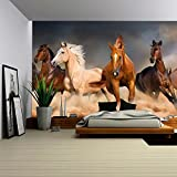 wall26 - Horse Herd Run in Desert Sand Storm Against Dramatic Sky - Removable Wall Mural | Self-adhesive Large Wallpaper - 66x96 inches
