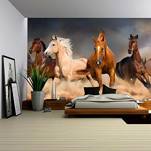 wall26 – Horse Herd Run in Desert Sand Storm Against Dramatic Sky – Removable Wall Mural | Self-adhesive Large Wallpaper – 66×96 inches