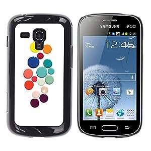 Be Good Phone Accessory // Dura Cáscara cubierta Protectora Caso Carcasa Funda de Protección para Samsung Galaxy S Duos S7562 // Color White Dots Colorful