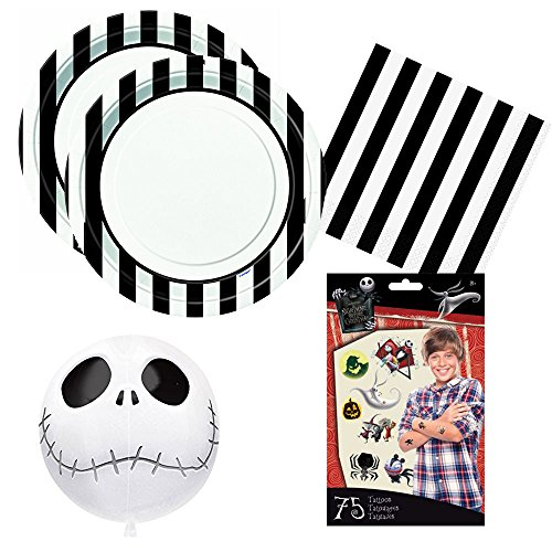 Nightmare Before Christmas Jack Skellington theme Party Pack for 16 guests -plates, napkins, balloon, (Nightmare Before Christmas Birthday Supplies)