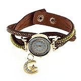 Yoyorule Women Crystal Band Wave Bracelet Dial Quartz Analog Wrap Wrist Watch Brown