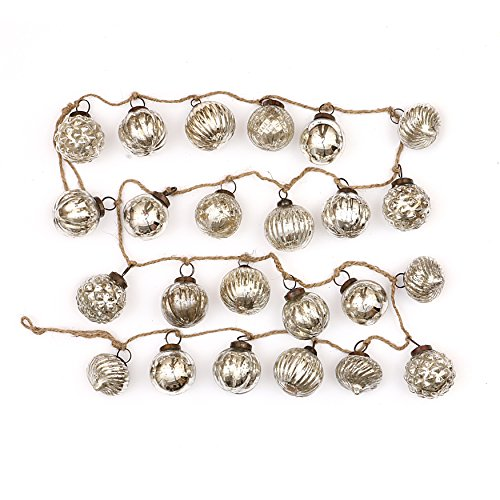 Creative Co-op Embossed Antique Silver Mercury Glass Ornamental Garland (Ornaments Christmas Mercury Glass Tree)
