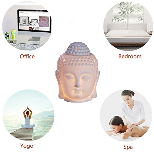 Kartique Set of 3 Buddha Head Statue Essential Oil Electric diffuser | Night Lamp for Aromatherapy | Spa | Sleep | Yoga, Home Decor | Free 6 Bulbs & 3 Bottles of Aroma Oil