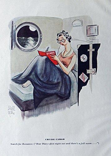 Cruise Vintage Print (Abner Dean, Cartoon. Original Vintage 30's Esquire Magazine Full Page Color Illustration Print art (cruise cargo) Authentic oringial vintage 1938 Esquire Magazine Art)