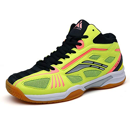 Men's Tennis Athletic Shoes Non Slip Breathable Indoor Court Squash Trail Running Sneakers Yellow