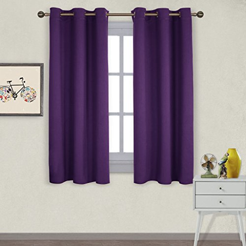 NICETOWN Triple Weave Home Decoration Thermal Insulated Solid Ring Top Blackout Curtains / Drapes for Bedroom(Set of 2,42 x 63 Inch,Royal Purple)