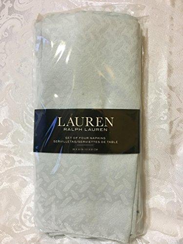 Ralph Lauren Clarendon Ice Flow Pale Blue White Napkins, Set of 4