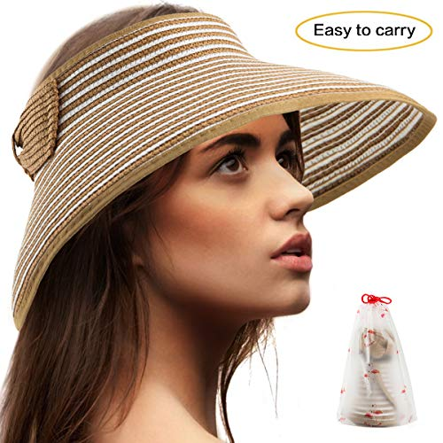 Women Wide Brim Roll-up Straw Sun Visor Packable Foldable Beach Open Top Hat LC