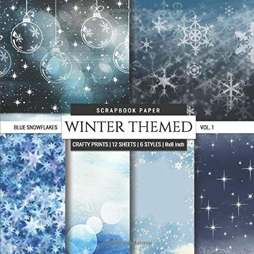 Winter Themed 8x8 Scrapbook Paper Blue Snowflakes Christmas