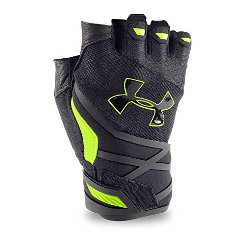 Under Armour Men's Resistor Half-Finger Training Gloves, Black /Fuel Green, -