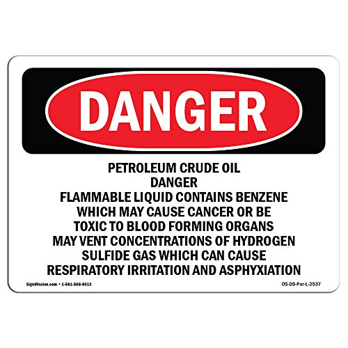 (OSHA Danger Sign - Petroleum Crude Oil Danger Flammable Liquid | Rigid Plastic Sign | Protect Your Business, Construction Site, Shop Area | Made in The USA)