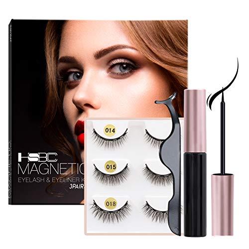 Coolours Magnetic Eyeliner and Lashes Magnetic Eyelashes Kit False Lashes 3 pairs with Tweezers