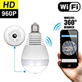 2017 NEW Owlview Wireless Light Bulb IP Camera Wi-fi FishEye 960P 360 degree Mini CCTV VR Camera, LED Bulb Indoor/Outdoor Lighting Lamp Home Security Monitor Spy System White(No TF card)