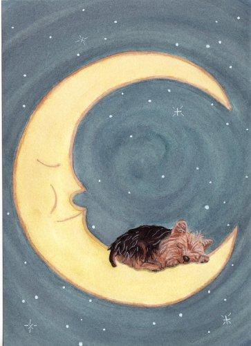 (Yorkshire terrier (yorkie) sleeping on moon / Lynch folk art print)