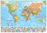 World 1:30 Wall Map, Laminated Educational Poster Laminated Poster 54 x 39in