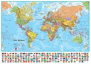 Amazon extra large world wall map political with flags extra large world wall map political with flags laminated and pinboard mounted gumiabroncs Image collections