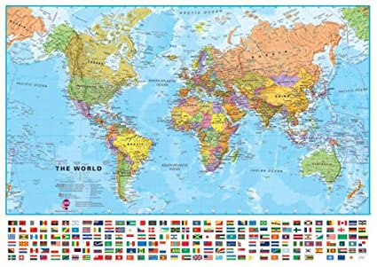 Amazon world wall map with flags 331 w x 234 h inches world wall map with flags 331 w x 234 h gumiabroncs Images