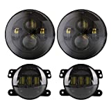DOT Approved 90W 7 inch Round Cree LED Headlight + 4 inch Cree LED Fog Lights High Low Beam for Jeep Wrangler 97-2017 JK TJ LJ Black