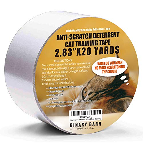 Binary Barn Cat Scratch Deterrent Tape, Anti Scratching Protection Tapes for Furniture,Clear Double Sided Training Tape, Best Choice to Protect Your Furniture from Your Loved Pet. (Pins Free) (Best Place To Scratch A Cat)