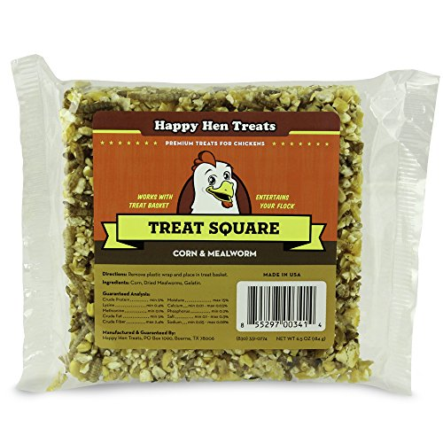 "51lTho4doFL - Happy Hen Treats 6.5 oz. Square, Mealworm and Corn, 4.25"" by 4.25"" by 1.25"""